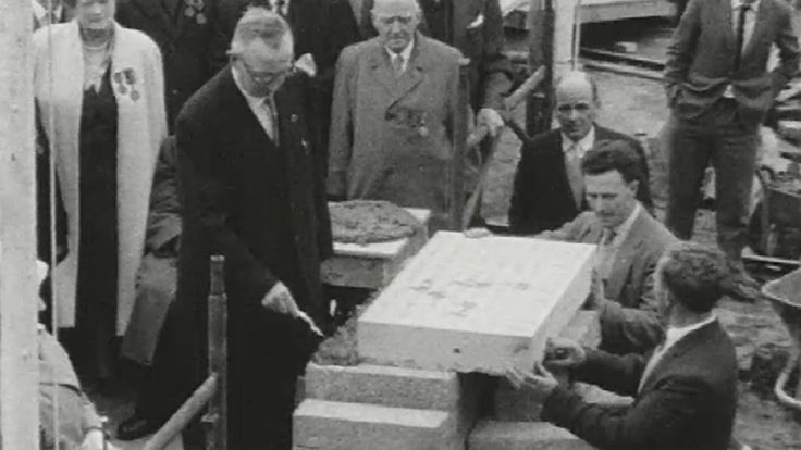 General President of the Irish Transport and General Workers' Union (ITGWU) John Conroy lays the foundation stone of the new Liberty Hall in Dublin. 1972
