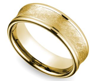 concave swirl mens wedding ring in yellow gold it kind of looks like the one ringbut less corrupting - The One Ring Wedding Band
