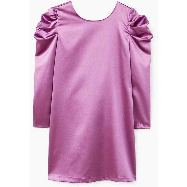 Puffed-Shoulder Satin Dress (745 UAH) via Polyvore featuring dresses, wet look dress, purple long sleeve dress, long sleeve satin dress, longsleeve dress и long sleeve dress