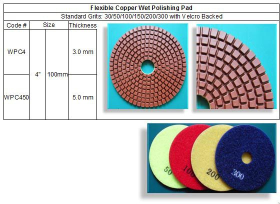 Copper Bond diamond polishing pads last longer than any resin bonded diamond pads. Aggressive polishing to shape and start the polishing process and extend the life of the lower grit pads. Then seamlessly switch over to the standard pads at 400 and finish the polishing process.