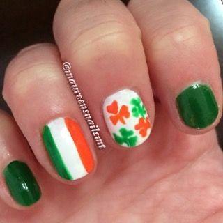 St Patrick's manicure ☘🇮🇪 #stpatricksday #irish #irishflag #shamrock #manicure #accentnail #funnails #freehandnailart #stpatricksdaynails #salon #salonnails #nailtech #mariotricocicrystallake #mariotricoci #tricocicareers #bymario #handphotography #handmodel #realpeople #luckoftheirish #luck #nailswag #nails2inspire #nailsofinstagram