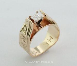 Native Raven Engagement Ring, 14K gold & princess cut diamond  #nativeamerican #aboriginal #engagement ring #gold #diamond