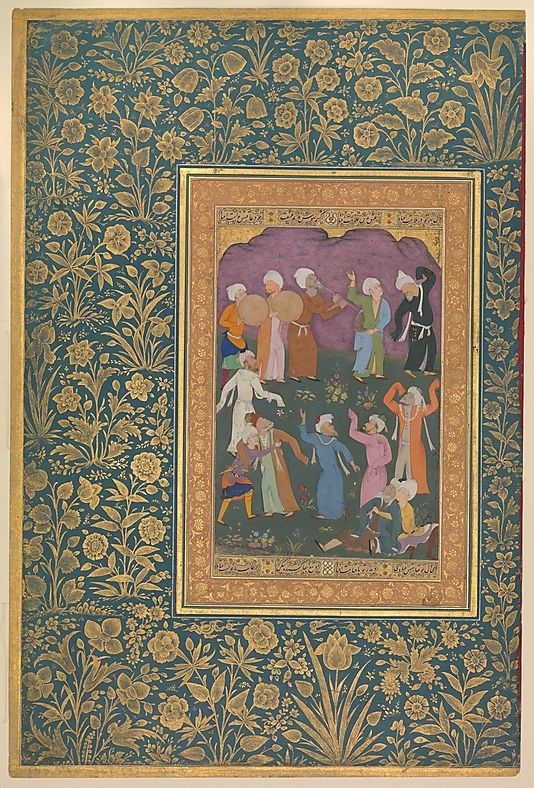 """Mir 'Ali Haravi  (d. ca. 1550). """"Dancing Dervishes"""", Folio from the Shah Jahan Album, recto: ca. 1610; verso: ca. 1530–50. India. The Metropolitan Museum of Art, New York. Purchase, Rogers Fund and The Kevorkian Foundation Gift, 1955 (55.121.10.18) #dance"""