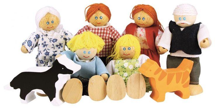 Drewniane lalki do domku dla lalek rodzina firmy Bigjigs