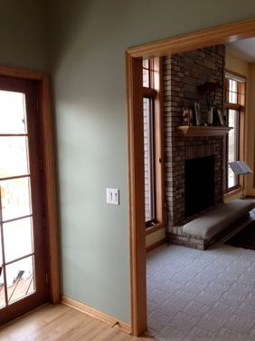 Case Study For Green Wall And Natural Trim Living Room Would Have Off White Carpet Walls