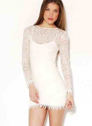 Long sleeve white lace dress high gloss fashion