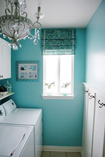 Stylish home: Laundries and mudrooms - myLusciousLife Love the color and the chandelier!