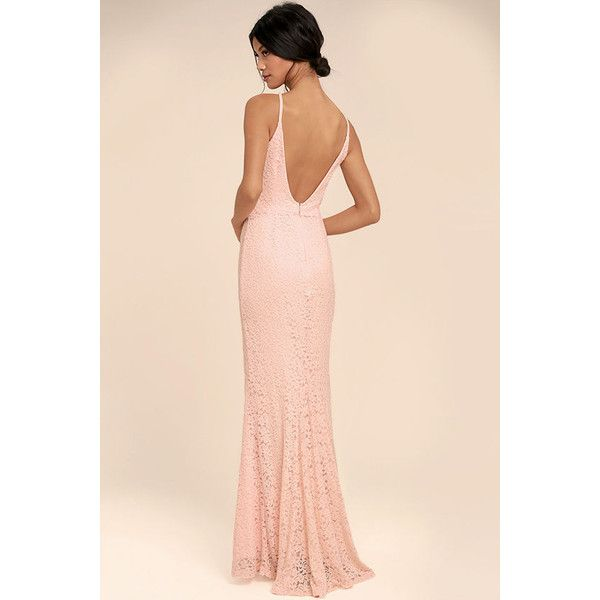 Ephemeral Allure Peach Lace Maxi Dress ($89) ❤ liked on Polyvore featuring dresses, peach maxi dress, sexy lace dress, lace maxi dress, maxi skirts and beige lace dress