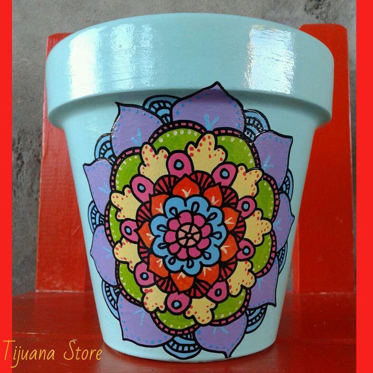 Mandalas macetas pintadas a mano by Tijuana_Store ❤