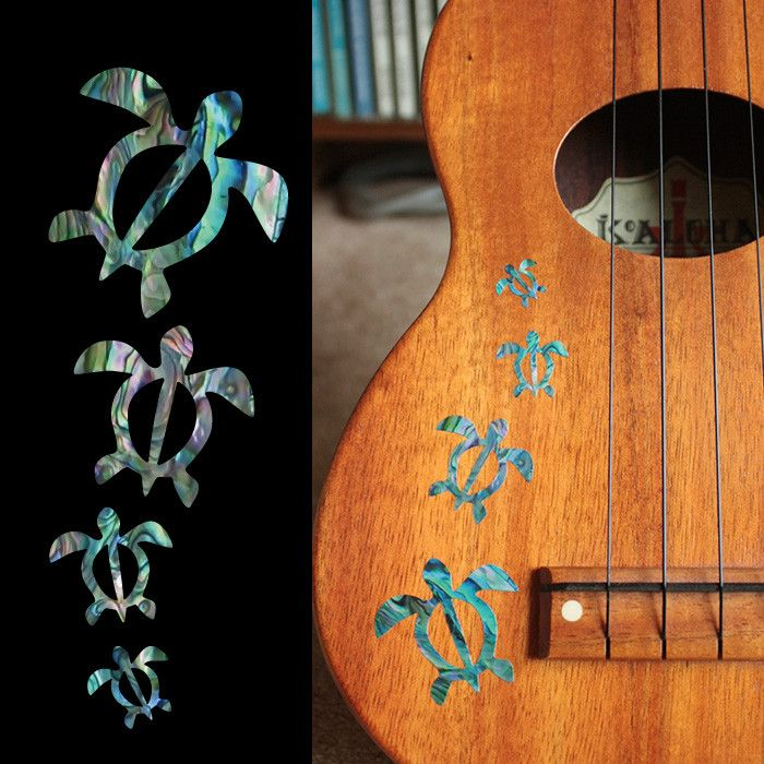 Honu Family Inlay Stickers Decals – Inlay Stickers Jockomo. Make your ukulele pretty