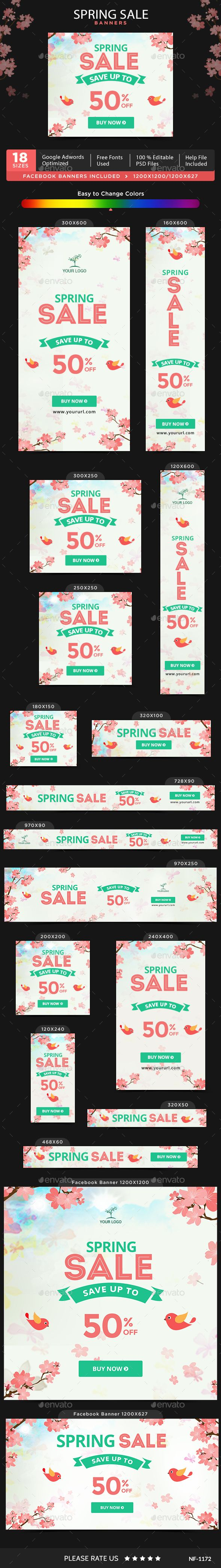 Spring Sale Banners Template PSD. Download here: http://graphicriver.net/item/spring-sale-banners/15374850?ref=ksioks
