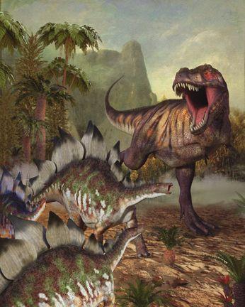 Tyranosaurus Rex Hunting Stegosaurus herd dinosaurs Dinosaur Art painting illustration