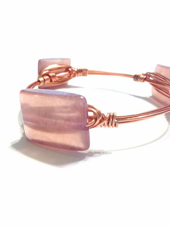 Wire Wrapped Bracelet  Wire Wrapped Bangle  Square by Barysto