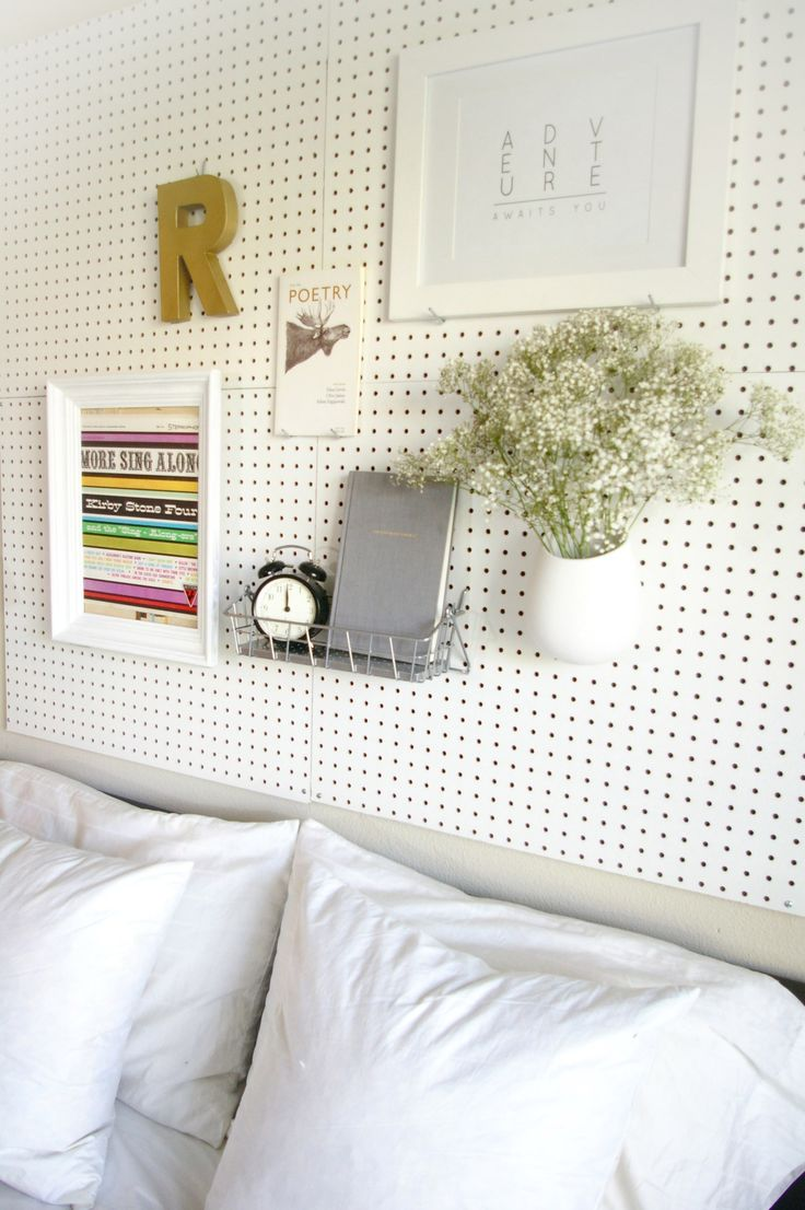 DIY pegboard headboard                                                                                                                                                                                 More