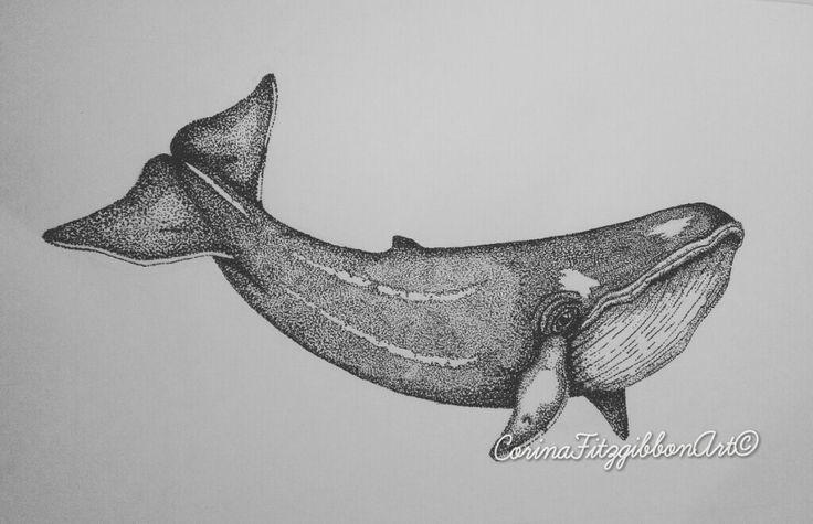 Whale||Original Pen Drawing||Ocean||Sea Creatures CorinaFitzgibbonArt© All rights reserved.