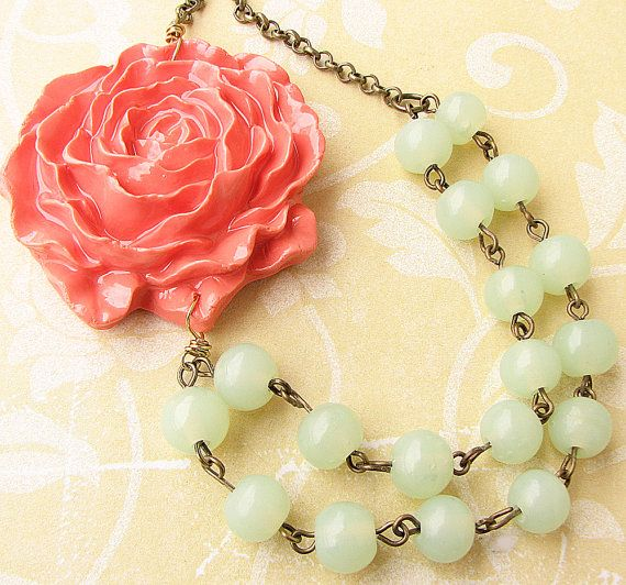 Hey, I found this really awesome Etsy listing at https://www.etsy.com/listing/178219095/flower-necklace-mint-jewelry-coral