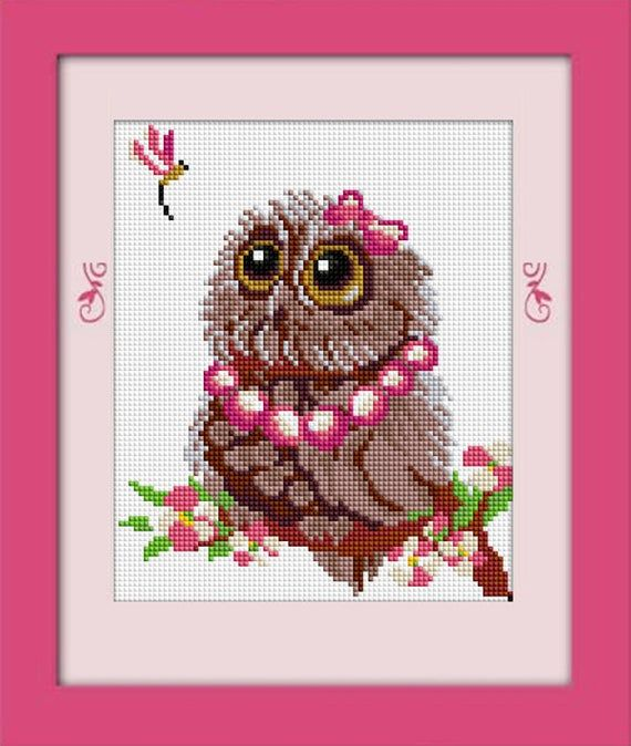 Full 5D DIY Drill Diamond Mosaic Colorful Owl Cross Craft Stitch Kits Handmade