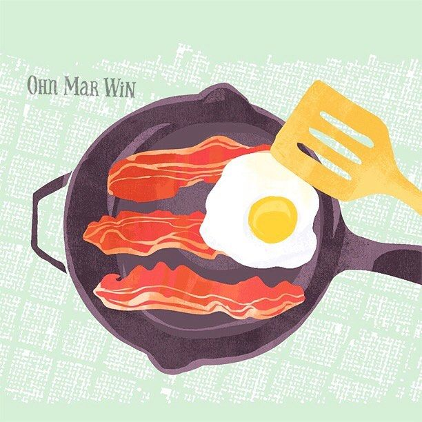 It's definitely a bacon and eggs brunch kinda morning. Hope you are all having a great day #theydrawandcook #baconandeggs #foodillustration #ohnmarwin #calledtobecreative #creativityfound  #abmlivecolorfully #dscolor #flashesofdelight #becreative #getcreative  #illustrationartists  #liveauthentically #doitfortheprocess #artistsofinstagram #creativelife #thehappynow #creativewomen #designprocess