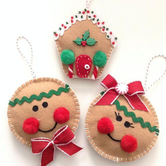 Gingerbread Christmas Ornaments Felt Gingerbread Ornaments Set