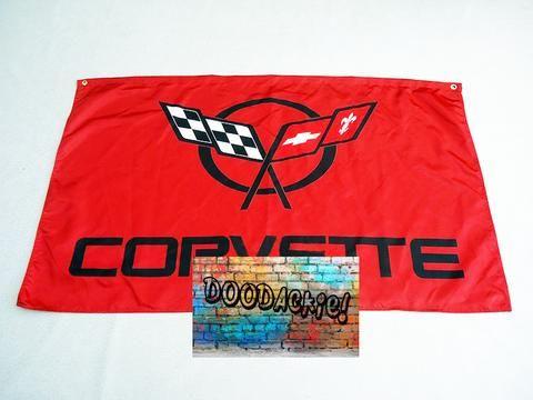 Chevrolet Corvette Logo Banner Flag - Red