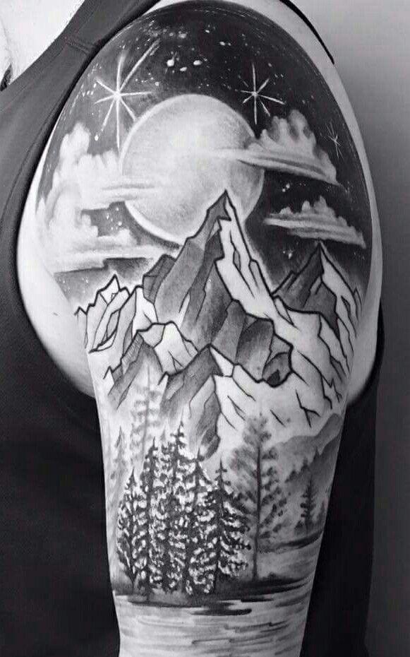 mountain,moon, tree sleeve tattoo