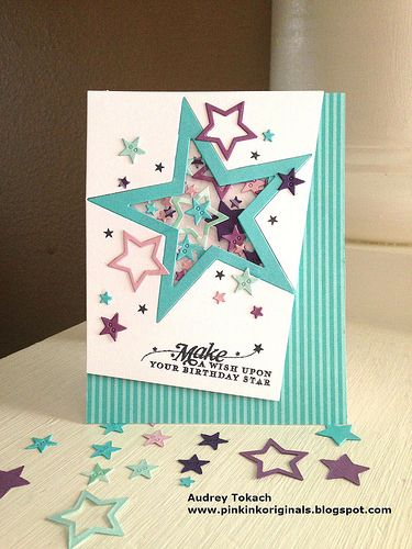 Star Confetti card, great colors, fun layout