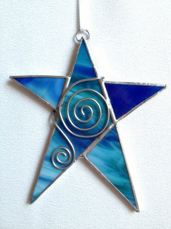 Stained Glass Christmas Ornament: Blue Star with Wire by Mama Agee on Etsy, $7.50