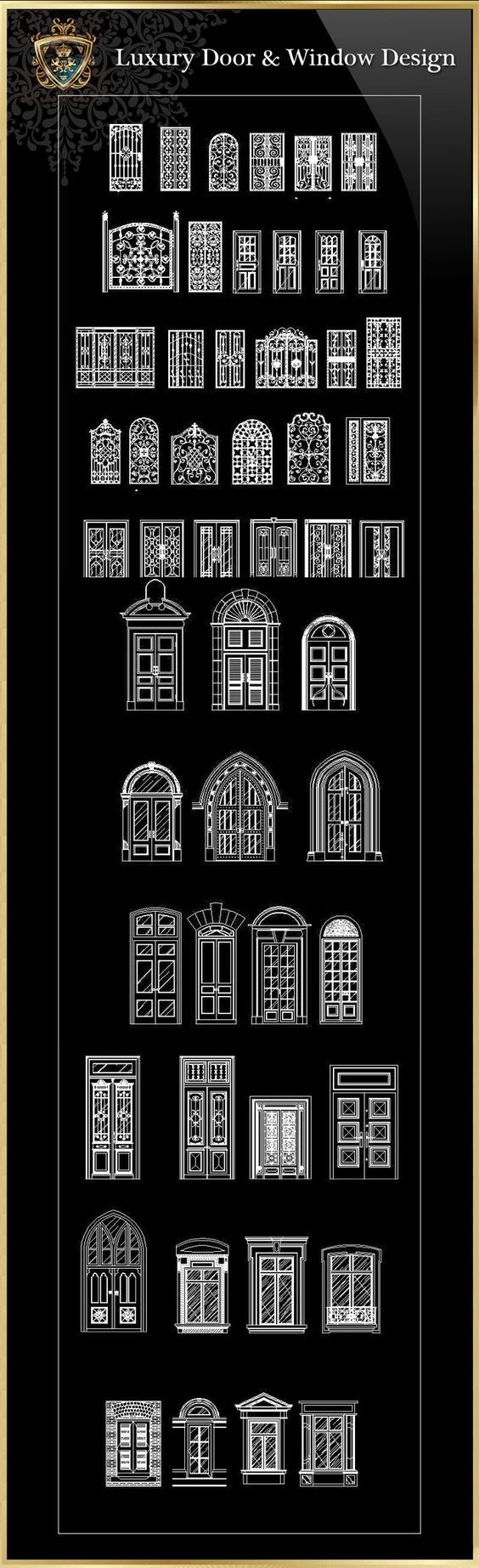 Unique Royal Architecture Door u Window Design u CAD Design Free CAD Blocks Drawings Perspektivisches ZeichnenKlassische