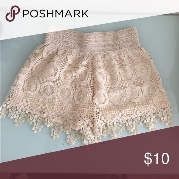BOGO Cream Lace Shorts Worn once! Cute, comfy, stylish. BOGO: leave a comment on the item you are purchasing with the other BOGO item you want (lesser value) Stella Luce Shorts