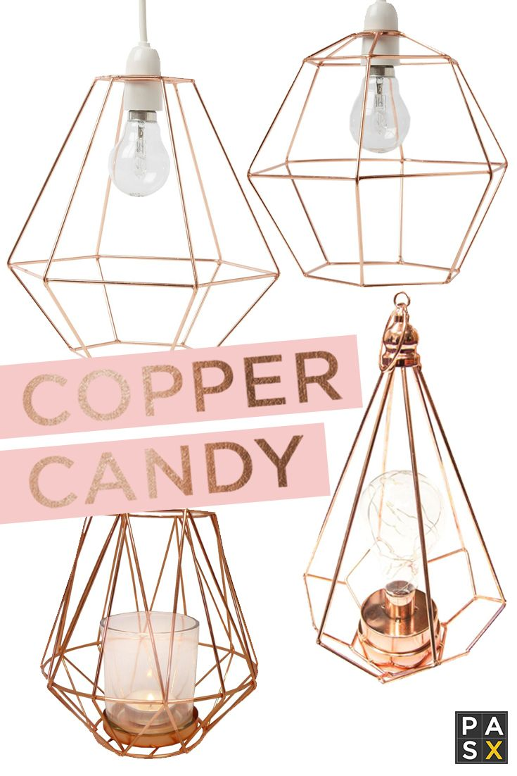 Copper Lanterns & Lampshades - Simple geometric designs in the popular copper shade. The perfect accessories for living rooms, bedrooms or hallways.