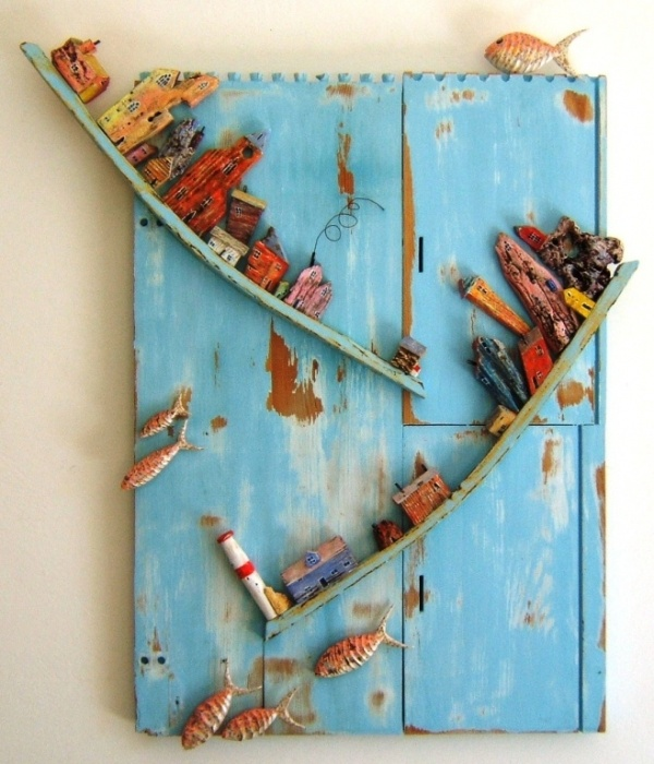 Tony Britnell - Inlet, lighthouse and six fish panel