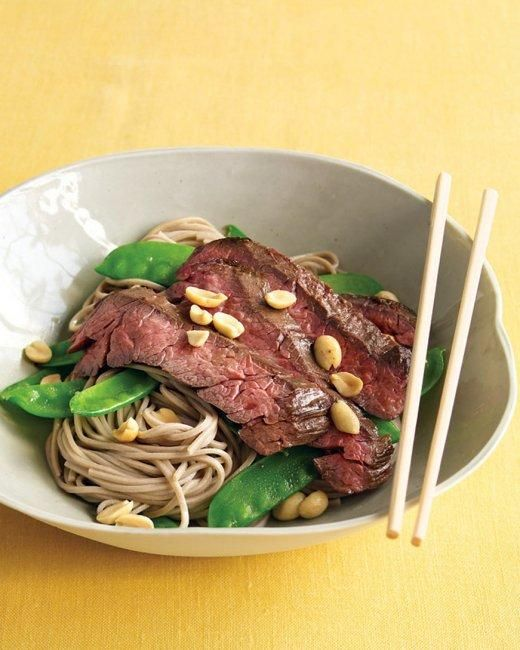 Asian Noodle Bowls with Steak and Snow Peas Recipe
