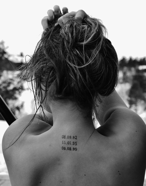 I really like this - tattooing your kids' birth dates. <3 except I'm thinking of doing the date that i got saved and another date of when I was first baptized!:)