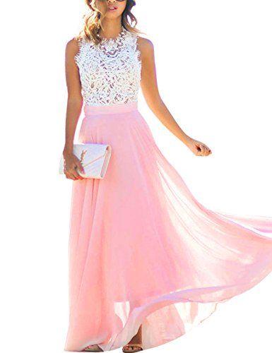 Damen Sommerkleid Lang Chiffon High Waist Sleeveless Beach Kleid Lace Partykleid Elegant Strand Spitze Maxikleid (XXL, Rosa)