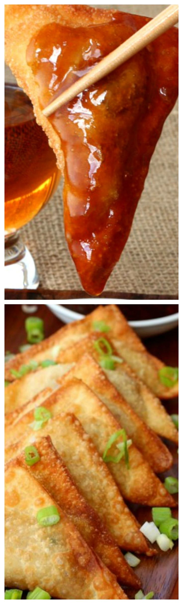 Whiskey Glazed Fried Dumplings ~ Crispy, fried wonton filled with ground turkey, bacon and cream cheese then dipped in a delicious whiskey glaze!