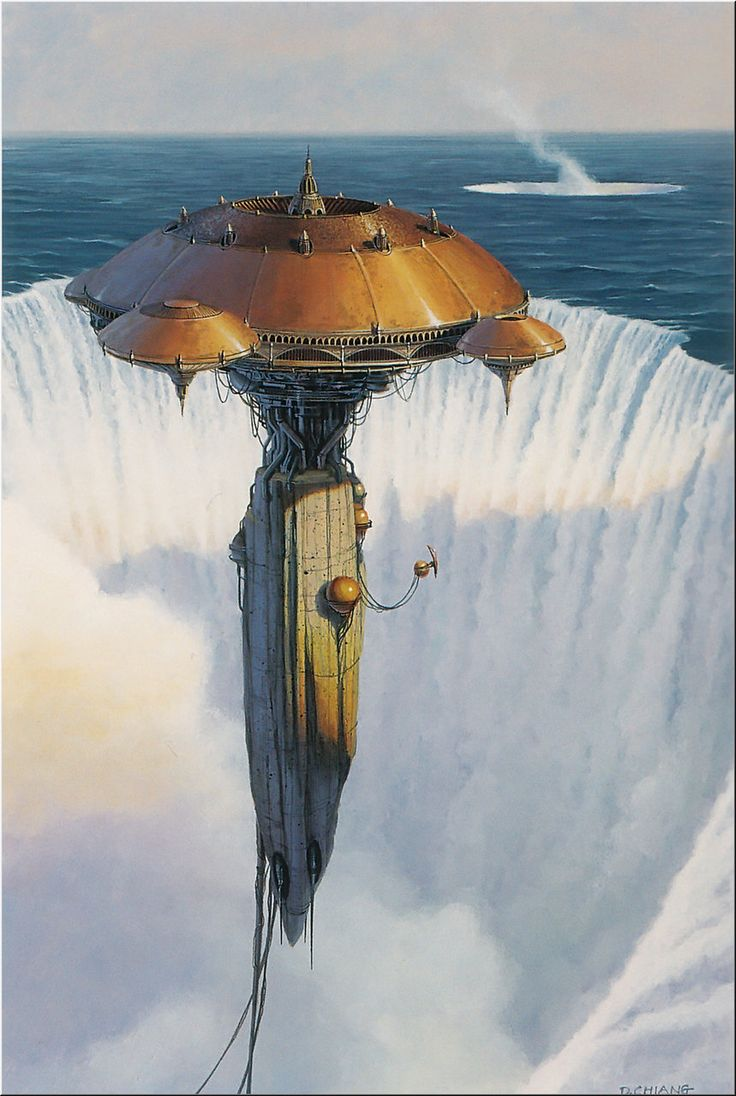 Manajik. Few know it exists. None alive know that it floats in mid-air. It has existed for thousands of years, constructed before the sea claimed the land around it. The craters (3 in all)  are the result of a cataclysmic magical accident. No one knows why the tower survived, or has the slightest idea where the water goes.