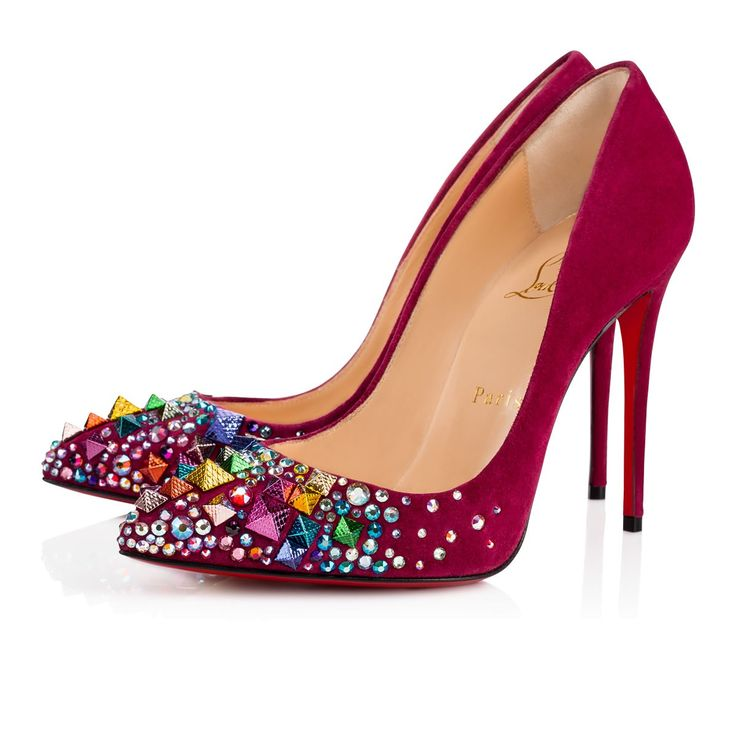 KEOPUMP VEAU VELOURS 100 Figue/Mix Multicolor Strass - Women Shoes - Christian Louboutin