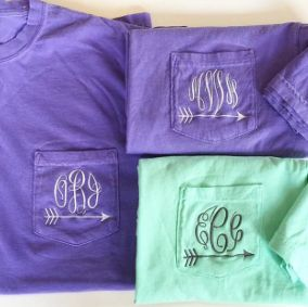 Any arrow lovers out there? From cross country runners to Pi Beta Phi's, our arrow monogrammed pocket tees make great gifts!