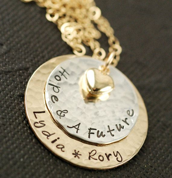 Hand Stamped Necklace Personalized Jewelry   Gold & by AnnieReh