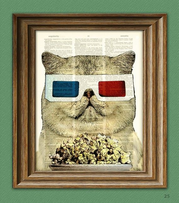 Fat Cat Movie Critic with old school 3-D glasses and a bowl of popcorn from Etsy