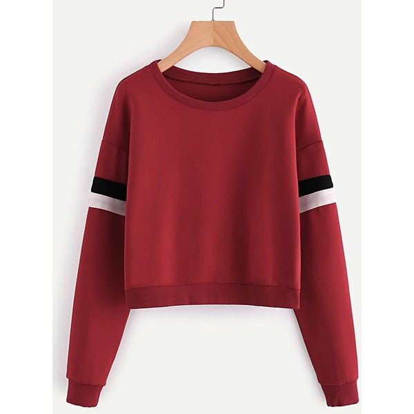 SheIn(sheinside) Contrast Striped Sleeve Sweatshirt (£11) ❤ liked on Polyvore featuring tops, hoodies, sweatshirts, red, sports sweatshirts, striped long sleeve top, red top, red striped top and sports pullovers