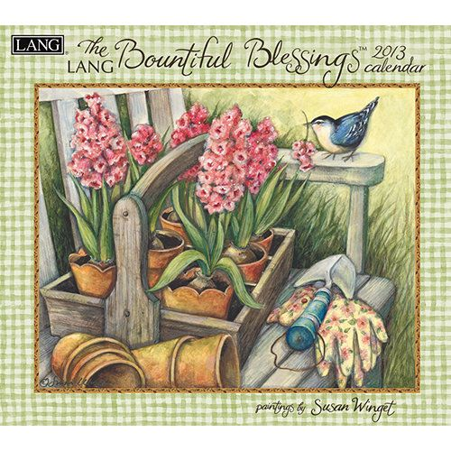 """Susan Winget Bountiful Blessings Wall Calendar: """"Bountiful Blessings"""" by Susan Winget boldly displays captivating floral displays paired with inspirational text. Industry rated as the #1 calendar since 1999, LANG Wall Calendars are the most popular brand among consumers year after year. $15.99 http://calendars.com/Assorted-Folk-Art/Susan-Winget-Bountiful-Blessings-2013-Wall-Calendar/prod201300001760/?categoryId=cat00033=cat00033#"""