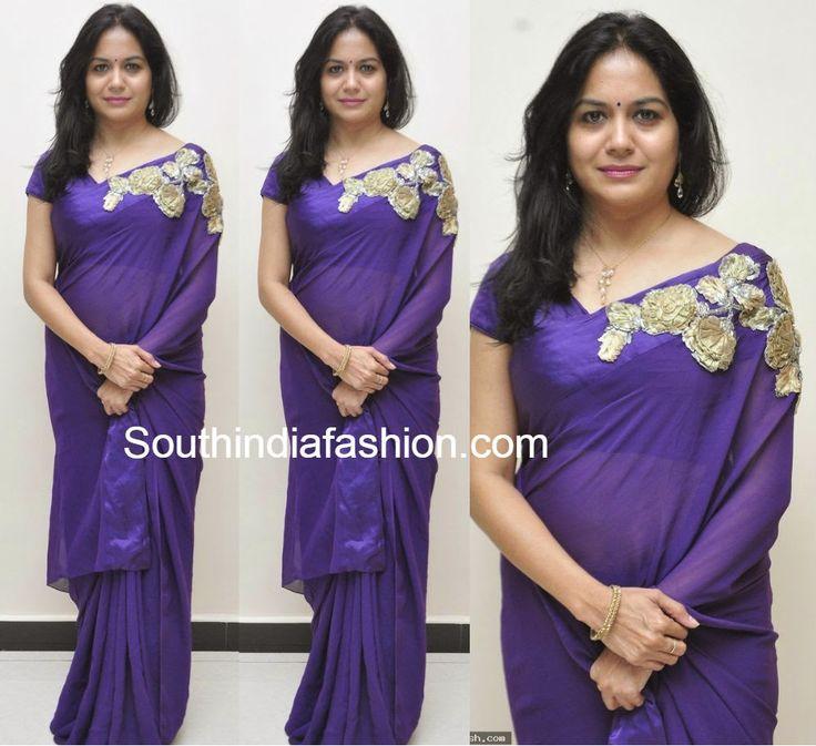 Singer Sunitha in Purple Saree ~ Celebrity Sarees, Designer Sarees, Bridal Sarees, Latest Blouse Designs 2014