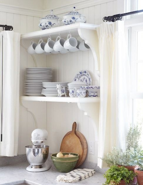 cottage home tour.... love love love  This blue & white kitchen..... Now if only my Mom would pass down all her blue and white ginger jars to me.....