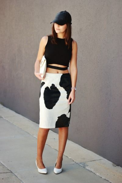 white Express skirt - black asos hat - black crop Front Row Shop top