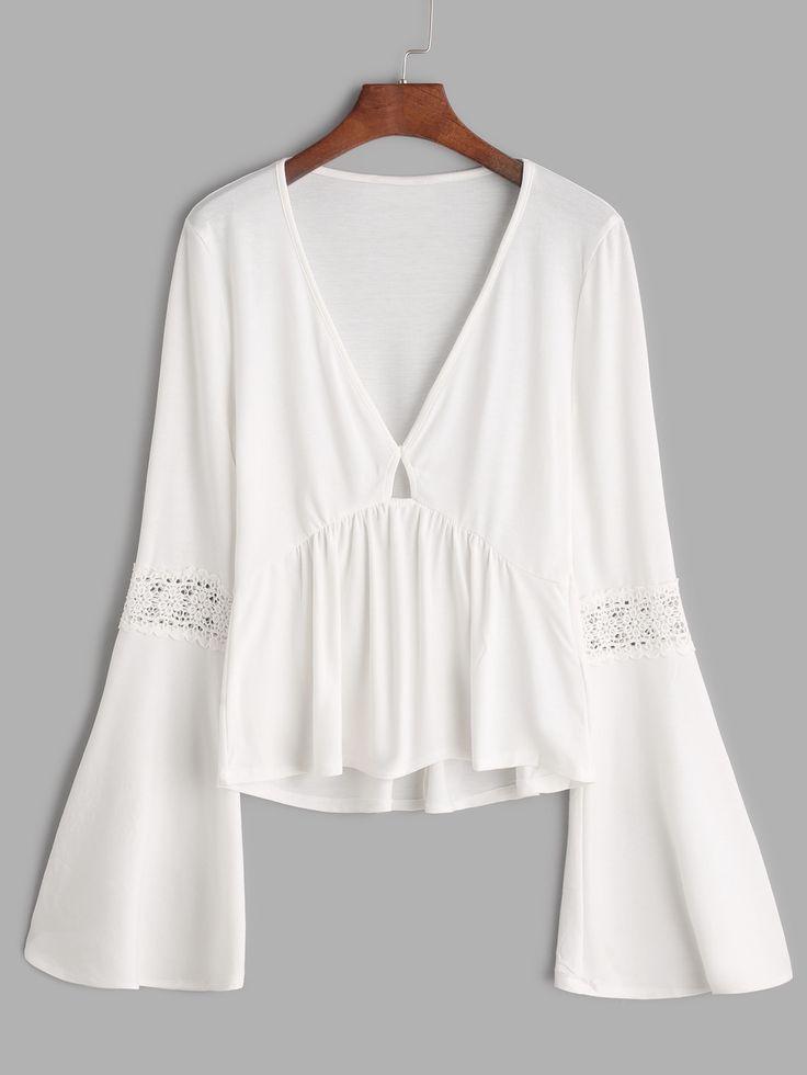 White V Neck Bell Sleeve Crochet Insert Peplum T-shirt