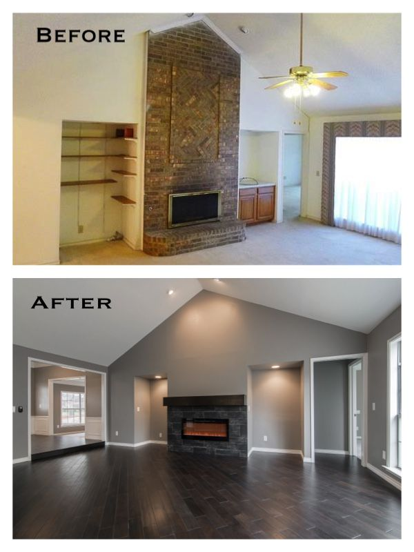 Best Before After Images On Pinterest Gray Walls Dark Wood