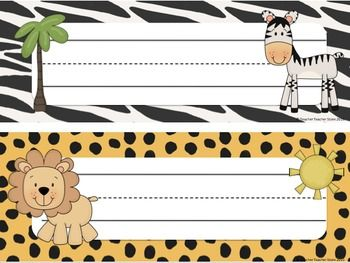 Classroom Decor Jungle Theme Editable Desk Tags Labels
