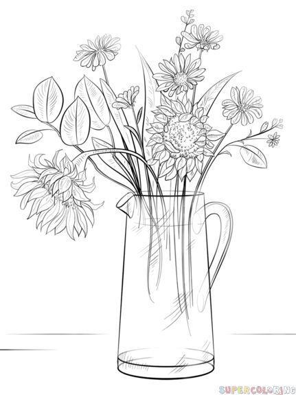 How to draw a Bouquet of Flowers step by step. Drawing tutorials for kids and beginners.