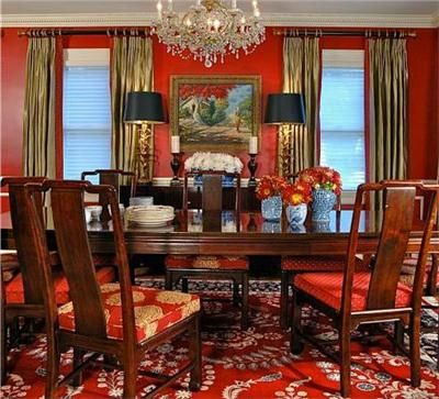 Traditional (Victorian, Colonial) Red Dining Room By Keita Turner @L. Simms